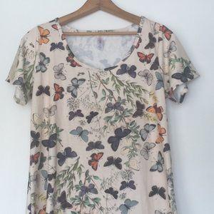 Lularoe Butterfly Classic Shirt Beige Vintage